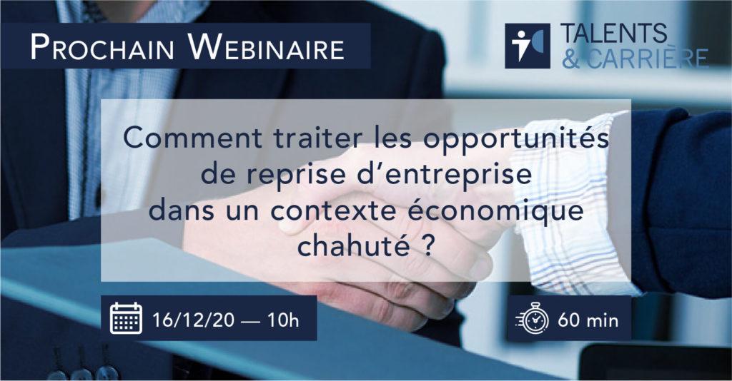Talents & Carrière Conseil en Outplacement à Paris et Bordeaux Webinaire-16-decembre-2020
